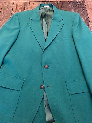 Jos A Bank Red Label Green Blazer 3/2 Roll 40R Patch Pockets Master's Augusta
