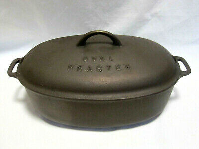 Vintage Unmarked Cast Iron Dutch Oven Oval Roaster and Lid Round Gate OR Sprue