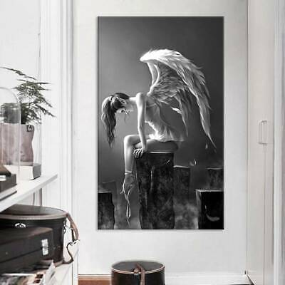 Black White Lost Angel Picture Canvas Prints Painting Wall Hanging Decor DIY