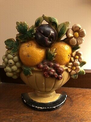 Antique Vintage Hubley John Wright Jw Fruit Bowl Cast Iron Door Stop # 456