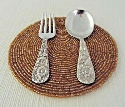 S. Kirk & Son Vintage Repousse Sterling Silver 3 3/4 Inch Baby Fork & Spoon Set