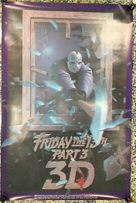 """HORROR CLASSIC FRIDAY THE 13TH IN 3-D JASON & AXE POSTER, 24x36"""",1982 MOVIE FILM"""