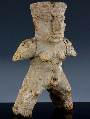 Very Old Early Pre Columbian Pottery Diety God Chief Figure Statue Mayan Aztec