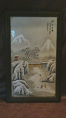 ANTIQUE 19c CHINESE LARGE PORCELAIN PLAQUE MOUNTAIN VILLAGE,CALLIGRAPHY,SIGNED