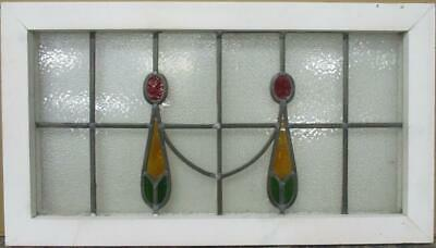"OLD ENGLISH LEADED STAINED GLASS WINDOW TRANSOM Simple Swag Design 28"" x 15.75"""
