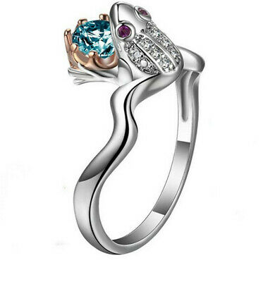 Sapphire Animal frog Men Women Silver Wedding Prom Jewelry Ring Size 9
