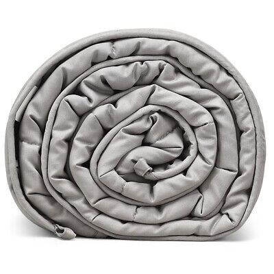 25 lbs Weighted Blankets Queen/King Size Cotton with Glass Beads Light Grey