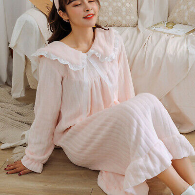 Women Girls Corel Fleece Nightdress Long Sleeve Nightgown Sleepwear Lolita Cute
