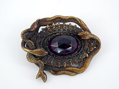 Vintage Art Deco Large Egyptian Revival Amethyst Czech Glass and Snakes