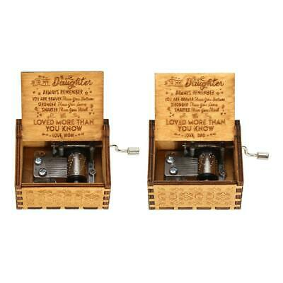 H3E# Retro Wooden Hand Cranked Music Box Home Crafts Ornaments Children Gifts