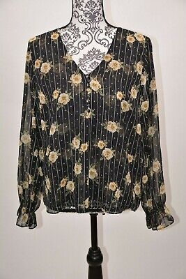 NWT Maison Jules Blouse Navy Long Plaid Sheer Tie Sleeves Crew Neck Casual