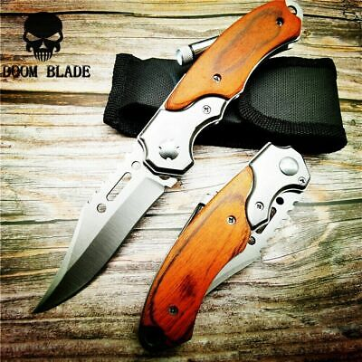 Blade Quick Open Knives Pocket Tactical Folding Blade Knife Survival Hunting LED