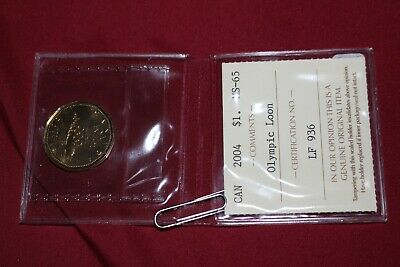 2004 Canada Loonie $1 Dollar Coin Ms-65 Iccs Graded 'Olympic Loon' Lf 936