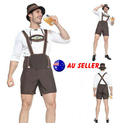 3Pcs/Set Halloween Men Oktoberfest Costume Beer Bib Pants Lederhosen Outfit