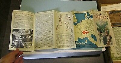 1936 Switzerland Electric Gothard Railroad Line Map and Information Brochure