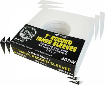 """(100) Archival Quality Acid-Free Heavyweight Paper Inner Sleeves for 7""""..."""