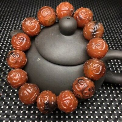 Tibetan Pure Natural Red Agate Dzi Carved *Fret* 14 Beads Bracelet S1015