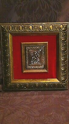 "Antique Russian Relief Copper Icon""Holly Maria With Child""In Double Gilt Frame"