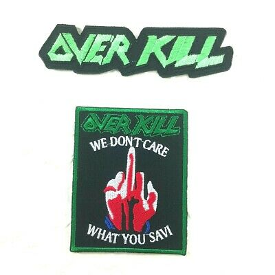 Over Kill Patch Sew Iron Badge Embroidered Rock Band Music Logo Thrash Metal