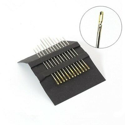 60x Assorted Simple Self Threader Threading Sewing Needles Hand Sewing Embroider