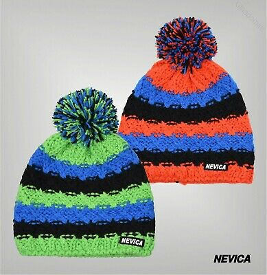 Boys Girls Nevica Cable Knit Pompom Striped Fleece Vail Beanie Hat