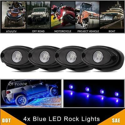 4x CREE LED Rock Lights Blue for JEEP Off-Road Under Body Glow Lamp Trail Truck
