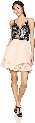 A. Byer Junior's Strappy Sweetheart Party Dress, Black/Blush, 5