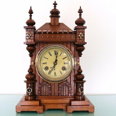 JUNGHANS Antique Mantel TOP! Clock CASTLE SHAPED Mantel GONG Chime! 1910 Germany