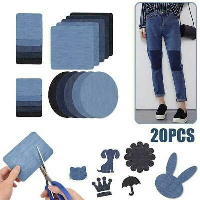 20pcs 5 Colors DIY Iron on Denim Fabric Patches For Clothing Jeans Repair P G1P4