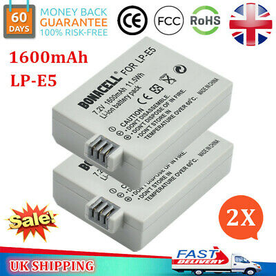2x 1600mAh LP-E5 Battery + LCD Charger for Canon EOS 1000D 450D 500D Rebel T1i