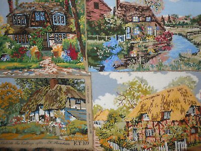 Lot Of 4 Completed Tapestries   -  Cottages