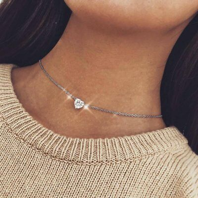 Fashion Heart Crystal Diamond Necklaces Pendant Chain Jewlery Women Charms Gift