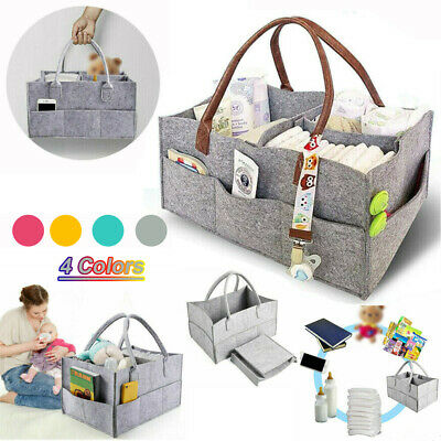 Foldable Felt Baby Diaper Storage Nappy Nursery Organizer Caddy Wipe Carrier Bag