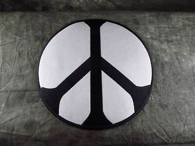 Round Peace Sign Black White Sewn On Patch Embroidered Large 8""