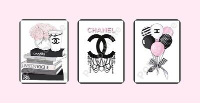 x3 Coco Chanel Fashion Prints Picture Wall Art Home Decor Perfume Gift Bedroom