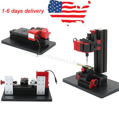 6in1 Machine Lathe DIY Machine Tool Kit Jigsaw Milling Lathe Drilling Machine US