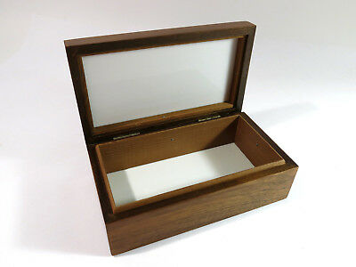 Restored Antique Small Solid Walnut Milk Glass and Mahogany Lined Humidor