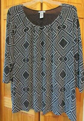 Ladies plus size 3X knit top, black/silver metallic, 3/4 sleeves, Catherine's