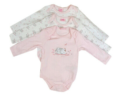 Baby Girls Set 3 Cotton Pink Swans & Dragonflies Tops Long Sleeved Bodysuits