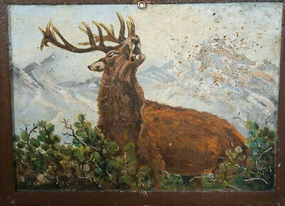 Antique German Black Forest Carving JEWELRY BOX Book/Safe Hunt Paint Stag Signed