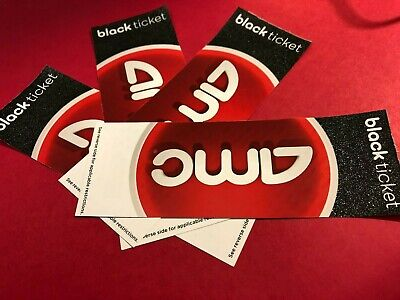 Lot of 4 AMC Theater Movie Tickets Passes / Black Tickets, New, Never Expire