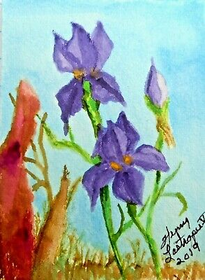 PURPLE IRISES NEAR AN OLD TREE  -  ORIGINAL ACEO WATERCOLOR by HENRY LASTRAPES
