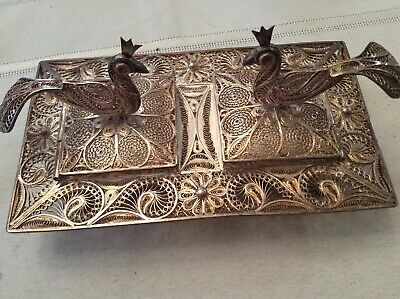 Antique  Silver Unusual Pheasant Ink Well  With Open And Detail Workmanship