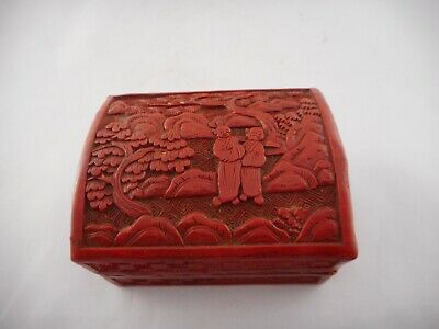Antique Vintage Cinnabar Red Lacquer Box Trinket Japanese Treasure Included