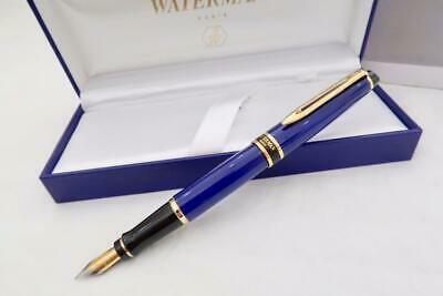 New & Boxed Waterman Expert Mkii Royal Blue Lacque Fountain Pen With Case & Inst
