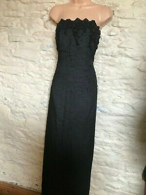 black beaded evening gown dress fit size 14