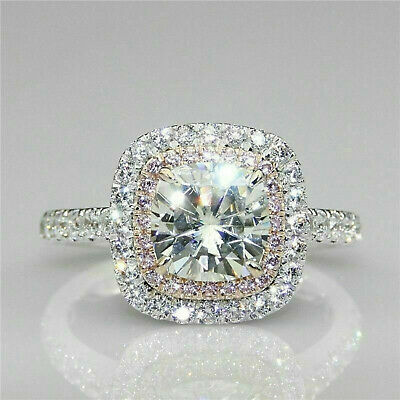 Solid 14k white Gold 3.19 ct Cushion cut Engagement Solitaire Diamond Ring