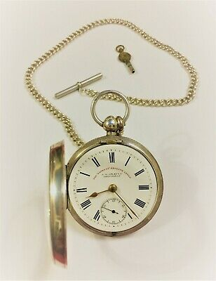 Excellent Solid Silver J.G. Graves Chester Hallmarked Pocket Watch + 46cm Albert