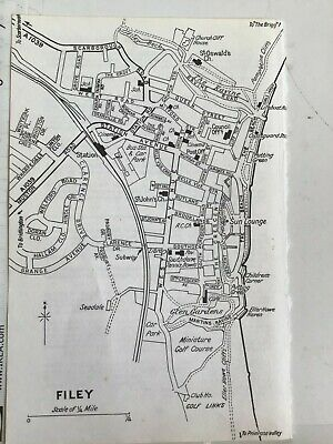 Original Vintage City Map, Yorkshire 1971, Filey, Churches, Railway, Post Office