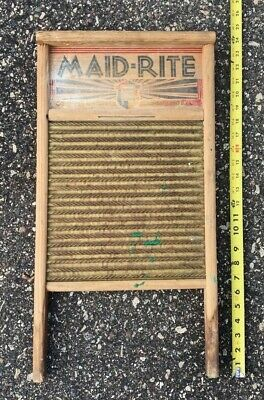 Vintage Maid-Rite Double Sided Brass Wash Board No. 2062 Columbus Washboard Co.